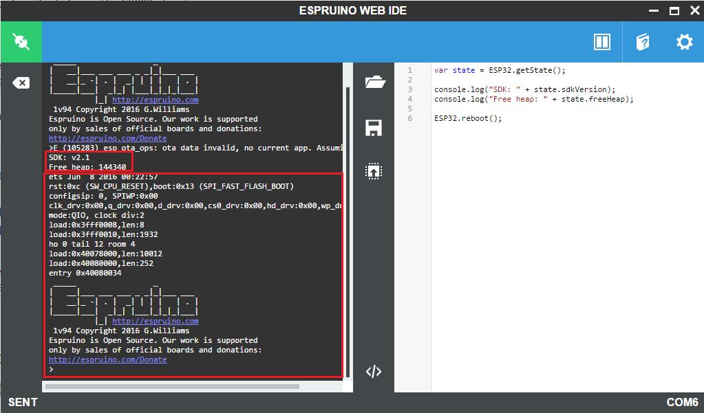 ESP32 Espruino: Get SDK version, free heap and software reset