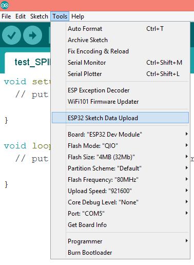 ESP32 Arduino SPIFFS: File upload IDE plugin – techtutorialsx