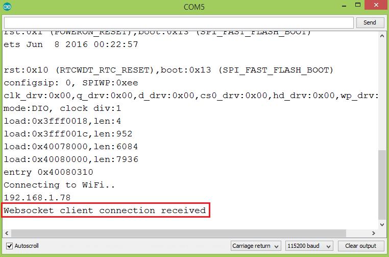 ESP32 Arduino web server: Receiving data from JavaScript websocket